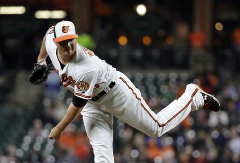 Orioles place closer Britton on 10-day DL with sore forearm  -  April 16, 2017:  Baltimore Orioles reliever Zach Britton follows through on a pitch to the Toronto Blue Jays during the ninth inning of a baseball game in Baltimore, Wednesday, April 5, 2017. Baltimore won 3-1. (AP Photo/Patrick Semansky)