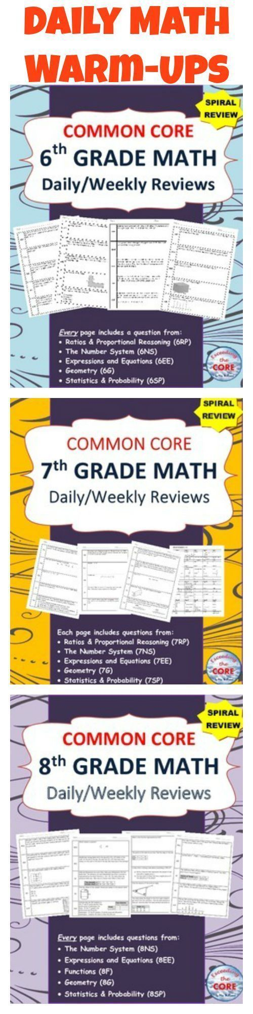 Daily WARM-UPS for the 6th Grade Math, 7th Grade Math, and 8th Grade Math COMMON CORE. This resource is perfect for SPIRAL REVIEW of the Common Core standards. These COMMON CORE MATH resources contains 20 WEEKS of review specifically written for the common core math standards for 6th, 7th & 8th grade. The review sheets are organized into 5 boxes. Each box contains problems from the 5 domains of the  CCSS standards.  This resource can be used for WARM UPS, TEST PREP, HOMEWORK and math…