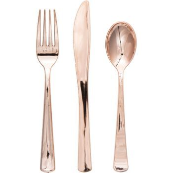 Rose Gold Metallic Plastic Cutlery