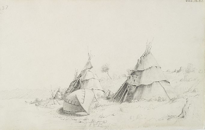 """Paul Kane's sketches were generally assumed to have been executed on the spot or, if not directly from life, then close in time and location to their subject. """"Encampment with Conical Shaped Lodges and Canoe,"""" mid-July 1845, Royal Ontario Museum."""