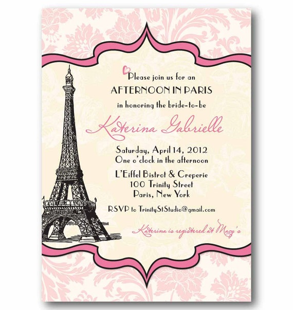 Vintage Paris Invitation  Bridal or Baby Shower by TrinityStStudio, $16.00