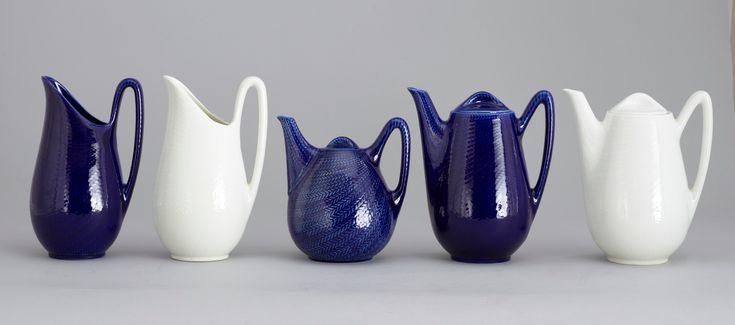 Hertha Bengtsson creamware 'Blå Eld' by Rörstrand, 1951-71