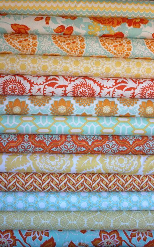 Heirloom fat quarter bundle (citrine colorway)--13 pieces (3-1/4 yards total), Joel Dewberry, Free Spirit Fabrics