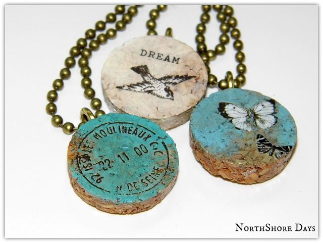 Cork Pendant Necklaces -  So pretty, so unique! So  EASY to make!!!  This was an experiment that turned out awesome using a wine cork, acrylic paint and rub on decals! These are so cool -  love them!  Simple step-by-step tutorial. | NorthShoreDays.Blogspot.com
