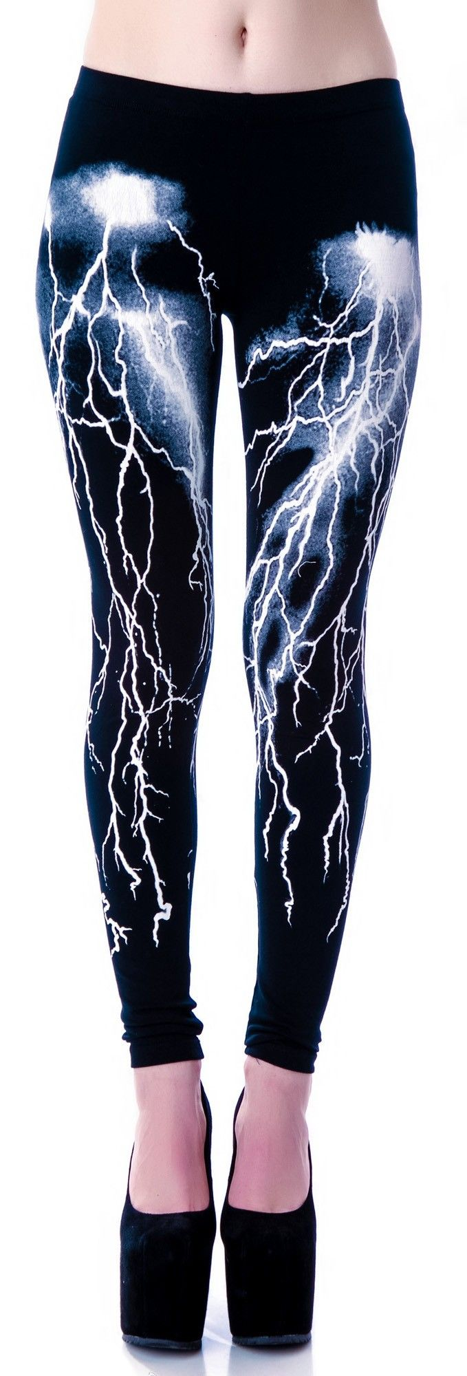 Fashion Victim Lightning Leggings by Lip Service $59 - $28 at DollsKill. basic low rise cut. screenprint design on the legs.  Slim fit skinny ankle huggers.  Model wears size XS and is 5'8 Cotton Spandex blend.