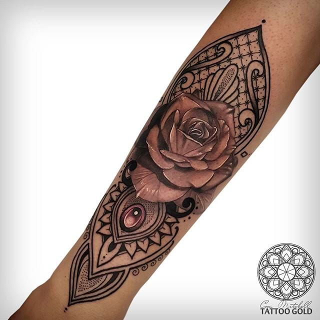 Classic black and gray rose combined with awesome geometrics. Geometric tattoos…