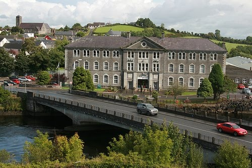 Belleek Pottery Factory on the River Erne, Belleek, County Fermanagh, Northern Ireland.
