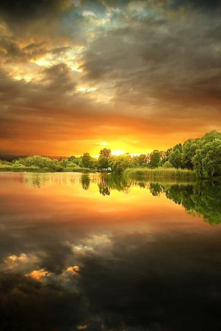 Beautiful sunrise over a pond