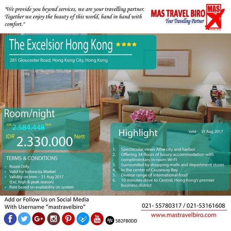 "Ada lagi nih dari hotel ""The Excelsior Hong Kong"", cuma Rp 2.330.000/malam. Cepet deh bookig 😎 #mastravelbiro #promohotel #Hongkong"
