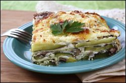 HG's Hungry Girlfredo White Lasagna. used eggplant instead of zucchini, pureed cottage cheese instead of sour cream. delicious meat free meal