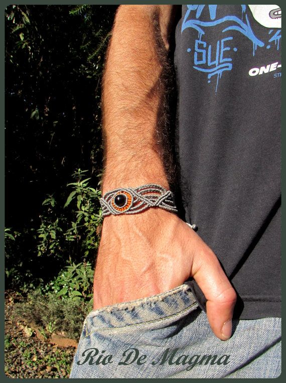 Mens bracelet with Black Onyx. Macrame unisex bracelet. Zig zag design. Mens gifts. Unisex jewelry. Gifts for men. Unisex bracelet. Makrame