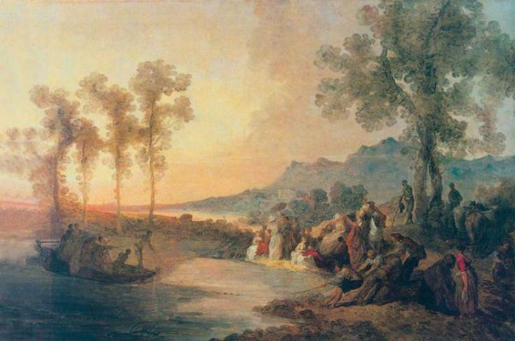 Jan Piotr Norblin, jedno z wczesnych dzieł typu fête galante - Towarzystwo na wycieczce (2 poł. XVIII w)