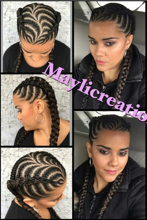 Braided cornrows hairstyle