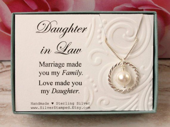 Daughter In Law Gift From Mother Sterling Silver Necklace Eternity Circle Swarovski Pearl Gif