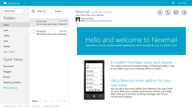 Newmail (Hotmail) concept by ~franmonzter on deviantART