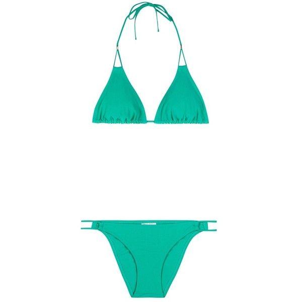 Heidi Klein Key West Double String Triangle Bikini ($225) ❤ liked on Polyvore featuring swimwear, bikinis, green, triangle swimwear, bikini swim wear, bikini two piece, green bikini and string bikini