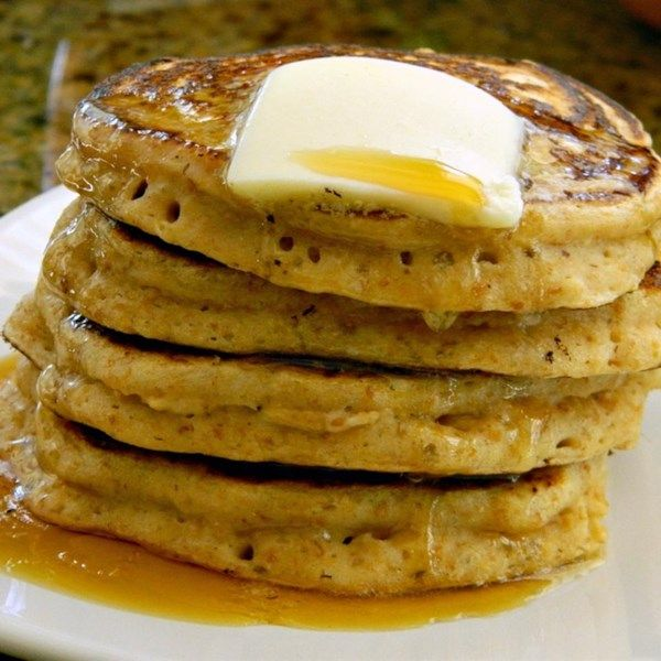 """Whole Wheat Pancakes from Scratch   """"If you have whole wheat pancakes instead of white flour ones, are you allowed an extra piece of bacon? Probably. Or just start your morning off hearty and healthy with these easy whole wheat pancakes."""" #recipe #entertaining #holidays #mardigras"""
