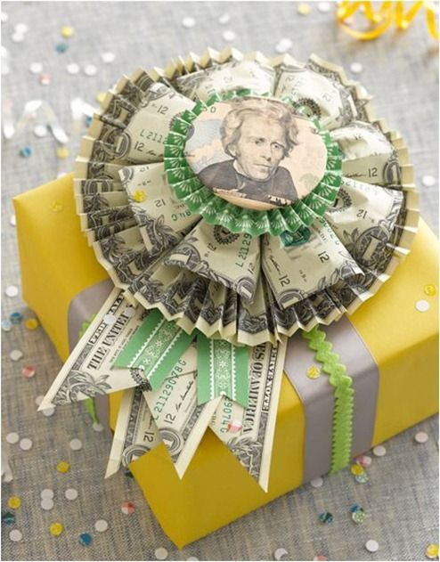 money rosette - would be great for graduation gift