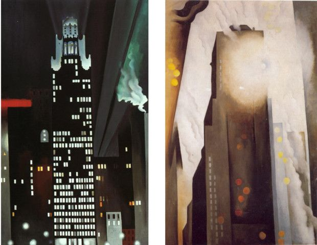 On the left: Georgia O'Keeffe, Radiator Building – Night, New York, 1927. On the right: The Shelton with Sunspots, N.Y., 1926