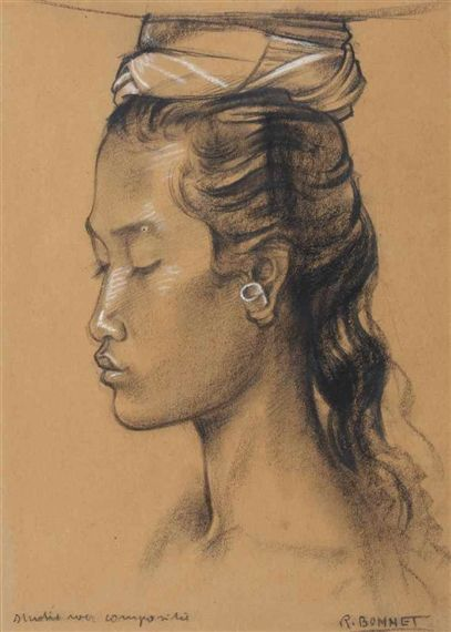 Artwork by Rudolf Bonnet, A portrait of a girl - studie voor compositie, Made of chalk and pastel on paper