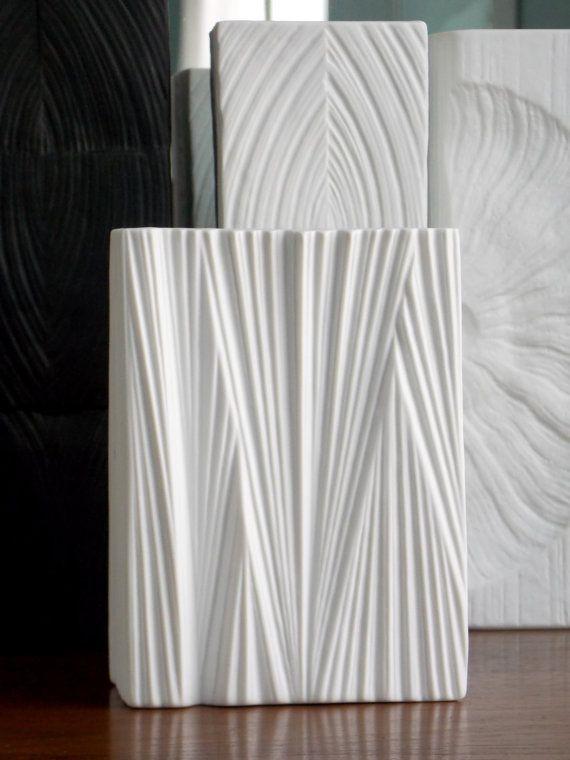 Rosenthal Vase Martin Freyer White OP Art vase MidCenturyFLA,