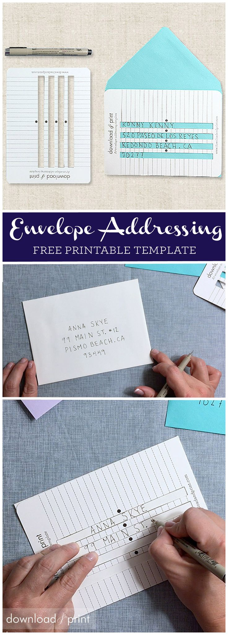 Here's the secret to perfectly aligned, perfectly spaced and perfectly straight hand-written envelopes! Download the free template and click through for hints on how to use it. From Download & Print.