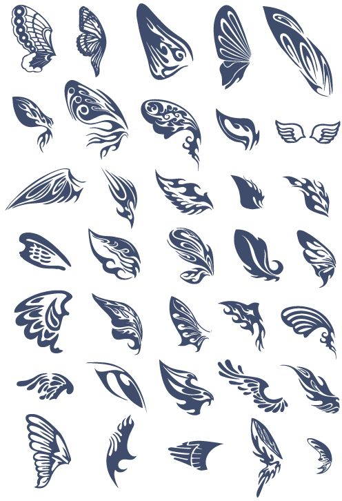 バタフライシルエットのエレガントな妖精の羽、35のデザインです。