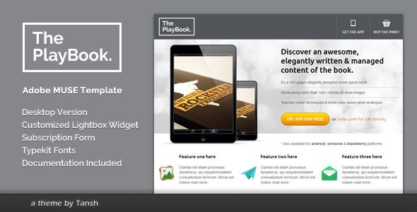 The PlayBook Muse Landing Page Template - Landing Muse Templates