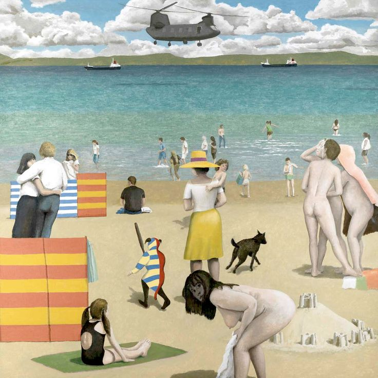 """Allegory II (2015) by David Inshaw. """"In the foreground there's a figure of a woman crouching. For years I've had the image in my head of a figure crouching, which comes from a painting by Hieronymous Bosch."""""""