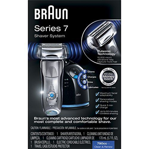 The Braun Series 7 790cc-4 Electric Wet & Dry Foil Shaver has the worlds only intelligent Sonic technology that automatically increases power in difficult areas.  Powered by a lithium ion battery ...
