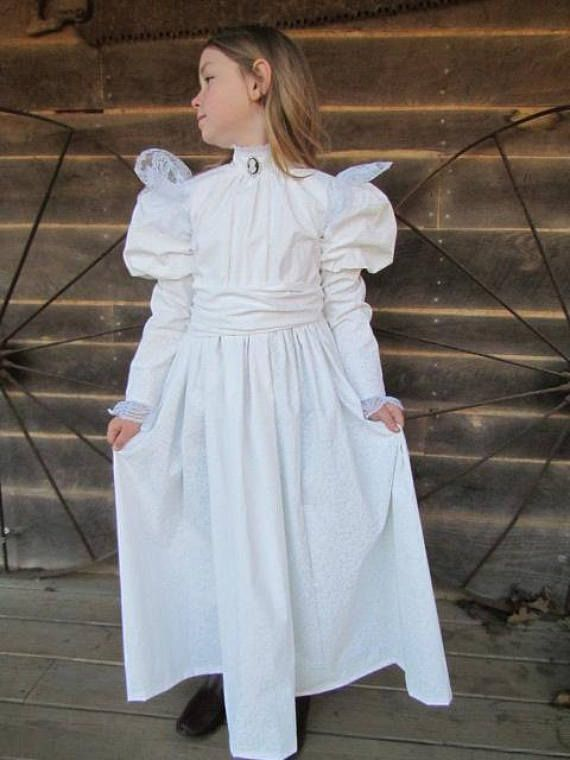 8e5ef750a8b52 Historical Character Costume Old Fashioned 1800s Dress -White Helen ...