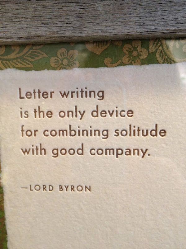 "Letter writing. ""Letter writing is the only device for combining solitude with good company."" - Lord Byron. Delores Arabian - Vignette Design"