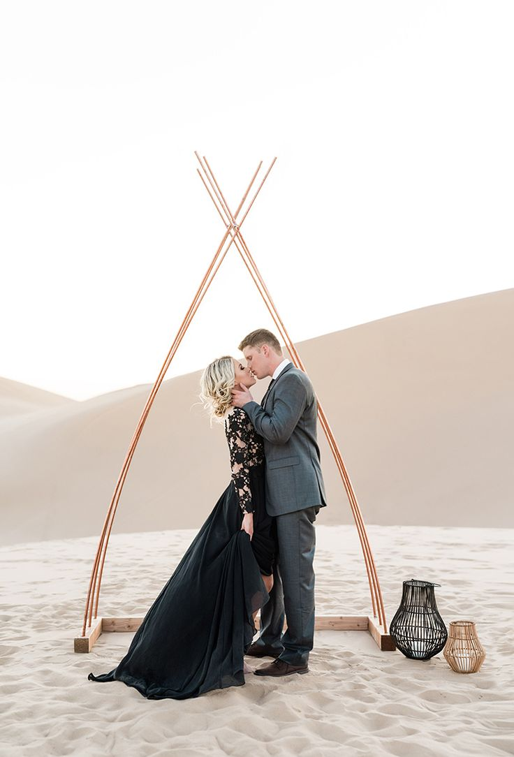 We've got something truly special to share today, and it's sure to tug at your heartstrings. Morgan and Mike chose to elope, picking sand dunes in Arizona as their spot to say I Do and ensuring they could keep the focus solely on each other and their overwhelming love. Add a black lace gown to …