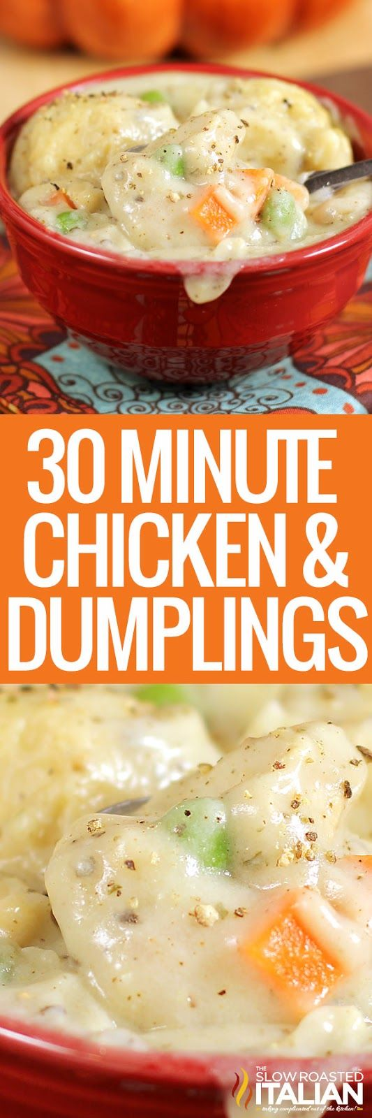 Chicken and Dumplings is a dish that goes from prep to plate in 30 minutes! A simple 1 pot recipe that is packed with chicken, veggies and delicious dumplings, with no canned 'cream of whatever' soup needed.