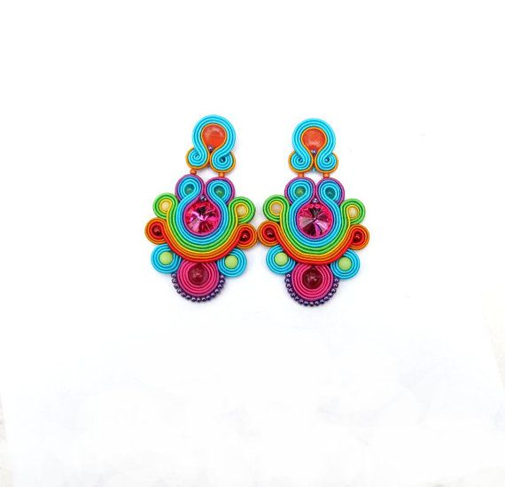 Unique Colorful Long Clip On Earrings by GiSoutacheJewelry