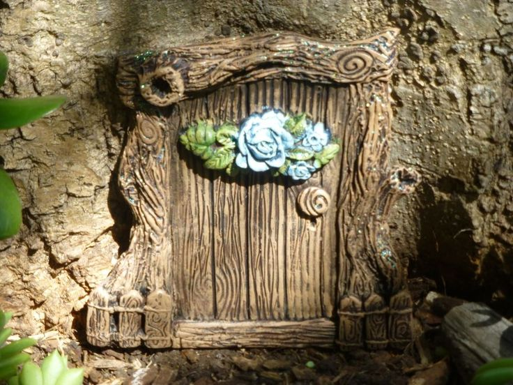stunning unique ooak hand made fairy elf gnome blue rose cottage door beautiful. https://www.facebook.com/InspiredByFae?ref=hl    By Michelle Fenton