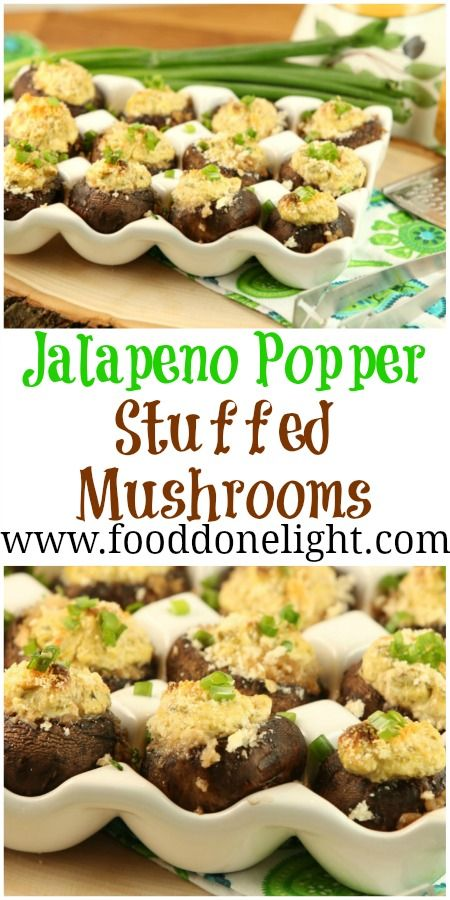 Best Stuffed Mushrooms - Jalapeno Popper Stuffed Mushrooms, Low Calorie, Low Fat Appetizer