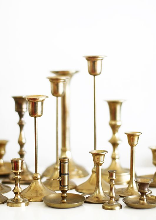 Brass candlesticks. You can pick these up at yard sales, thrift shops and Home Goods! #homeaccents