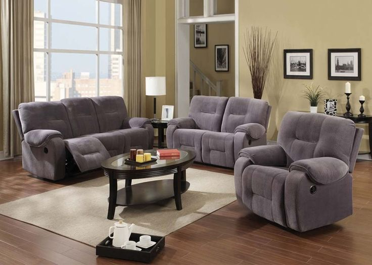 Acme 50800 Villa Light Gray Champion Fabric Motion Recliner Living Room Sofa SetACM