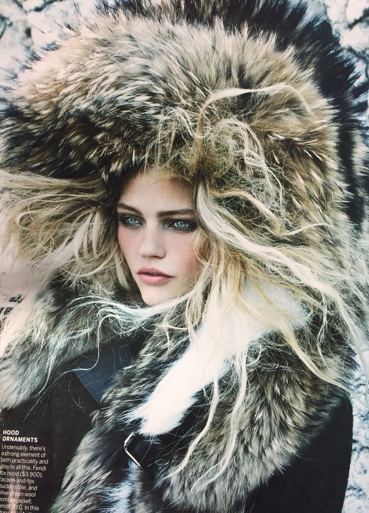 Snow queen in fur and blond