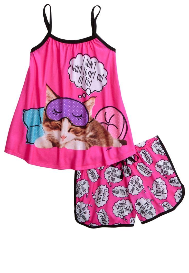 Sleeping Kitty Pajama Set (original price, $36.90) available at #Justice