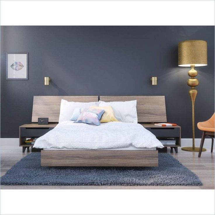 full size platform bed in walnut
