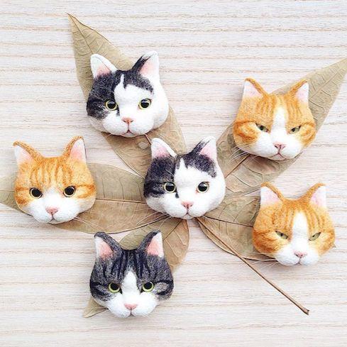 Cute Needle felted wool animals cute cat heads(Via @mosscatt25)
