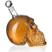VENKON - Garrafa de Cristal en el Diseño del Cráneo Jarra Calavera - 500 ml - Transparente - para Cognac, Licor, Ponche, Vodka, Cerveza, Cócteles etc. o Bebidas no Alcohólicas