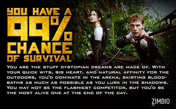 I have a 99% chance of surviving the Hunger Games......at least that's what this quiz said.....