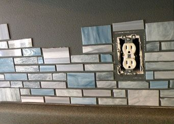 DIY stained glass mosaic backsplash