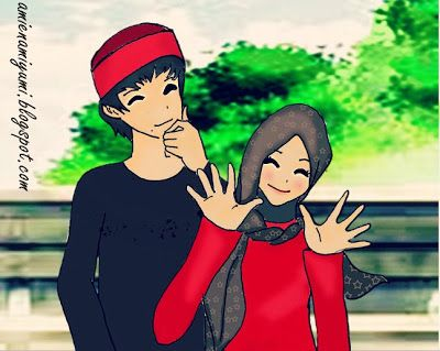 ❥   ❝Âmie Ñami Ÿumi❞: Cute Muslim Couple (cartoon, drawing, anime!!)
