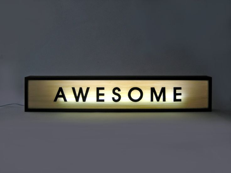 Large 84cm Hand Painted Wooden Light Box Signs Quot Awesome