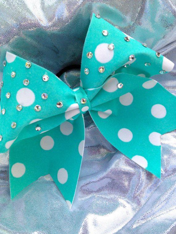Tiffany Blue Polka Dot Cheer Bow with Crystal Rhinestones