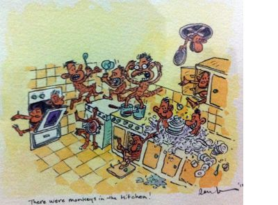 Original artwork from The 13-Storey Treehouse. 'There were monkeys in the kitchen!' - by Terry Denton. Available at Books Illustrated. http://www.booksillustrated.com.au/bi_illustr_indiv.php?id=73&image_id=239
